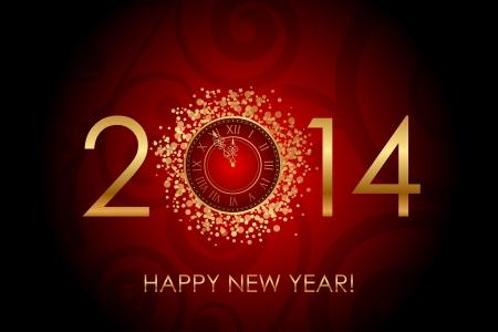 happy hours: Vecteur Happy New Year fond rouge brillant avec horloge de l'or Illustration