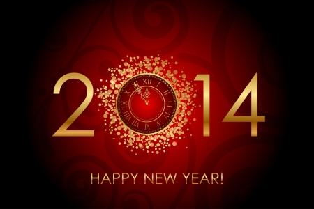 Vector Happy New Year red background with shiny gold clock Vector