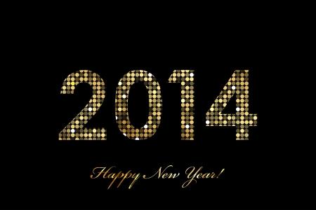fiestas electronicas: Vector 2014 Feliz A�o Nuevo brillante oro Vectores