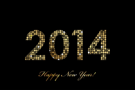 sequin: Vector 2014 Happy New Year gold glowing Illustration