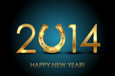 Vector 2014 Jahre Jahr des Pferdes Hintergrund mit goldenen Hufeisen für Glück