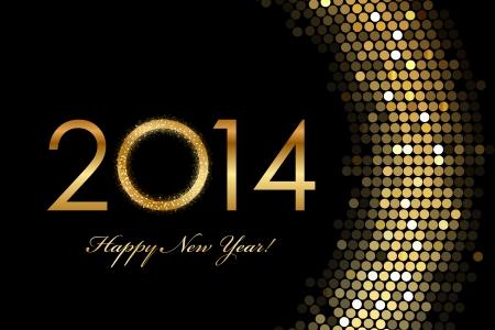 glisten: Vector - 2014 Happy New Year 2014 golden glowing
