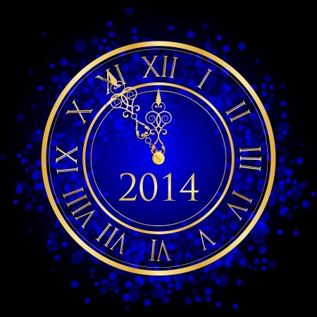 Vector illustration of blue and gold New Year clock Vector
