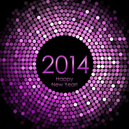 Vector - Frohes Neues Jahr 2014 - lila Disco-Lichter Hintergrund