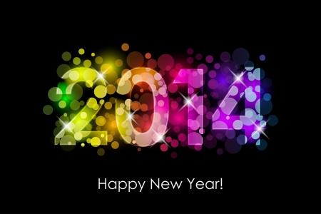 Vektor Happy New Year - 2014 bunten Hintergrund