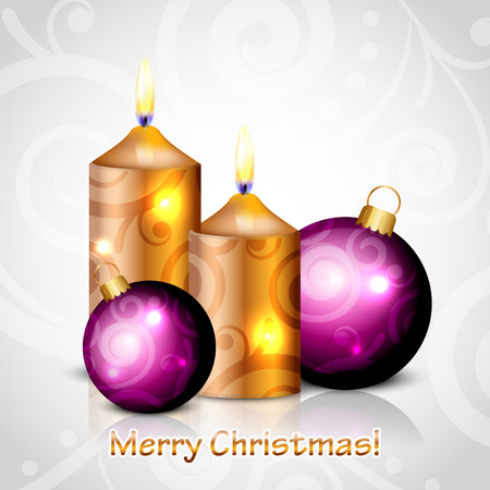 Vector Merry Christmas background with gold   purple candles and decorations Vector
