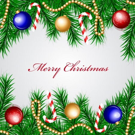 Vector Christmas frame with colorful decorations Vector
