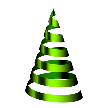 Vector green Christmas tree from ribbon Vector
