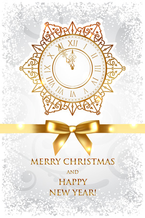 Vector Merry Christmas   Happy New Year background with gold clock Vector