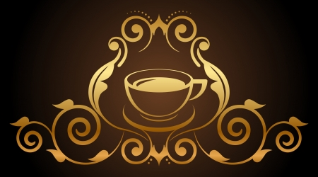 Vector illustration of floral gold coffee icon Vector