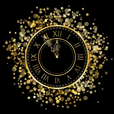 Vector gold New Year Clock Vector