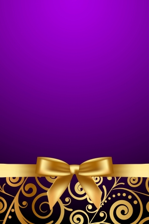 Vector purple and luxury frame with gold ribbon Vector