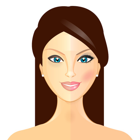 Makeover - Vector illustration of woman before and after makeup Vector