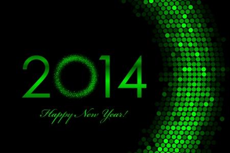 sequin: Vector 2014 green background - Happy New Year