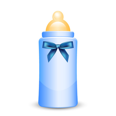 Vector illustration of blue baby bottle with bow Illustration