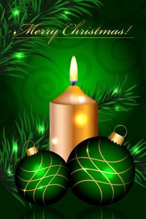 Vector Merry Christmas green background with baubles and candle Vector