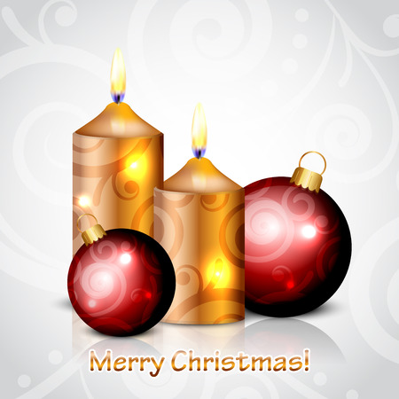 Vector Merry Christmas background with candles and red baubles Vector