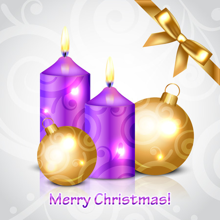 Vector Merry Christmas background with purple candles and decorations Vector