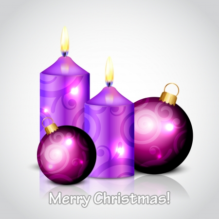 Vector Merry Christmas background with purple candles and baubles Vector