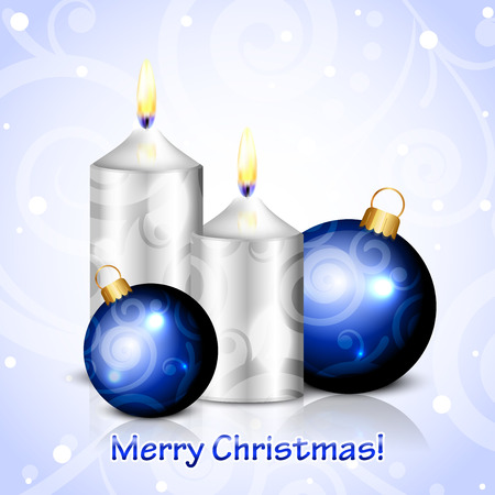 Vector Merry Christmas background with candles and blue decorations Vector