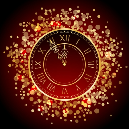 midnight hour: Vector red and gold New Year clock
