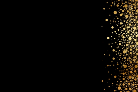 shiny black: Vector black background with gold snow
