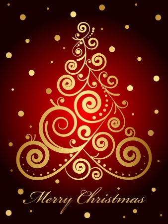 Vector gold ornate Christmas tree on red background Vector