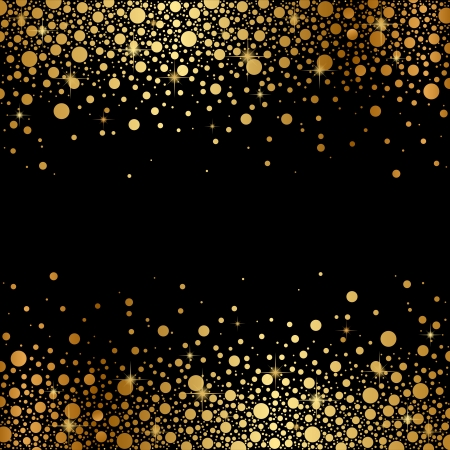 Vector zwarte achtergrond met gouden sneeuw
