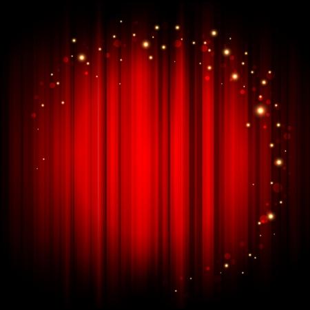 teatro: Rojo Vector de fondo abstracto con luces de oro Vectores