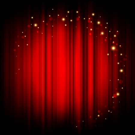 theater auditorium: Vector red abstract background with gold lights
