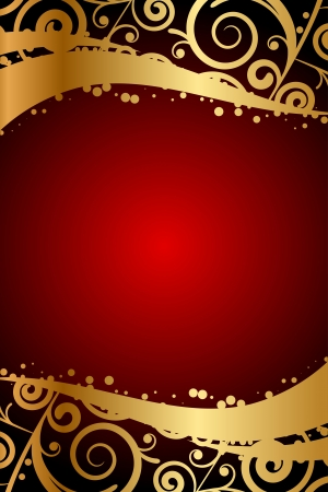 maroon: Vector red frame with gold ornaments Illustration