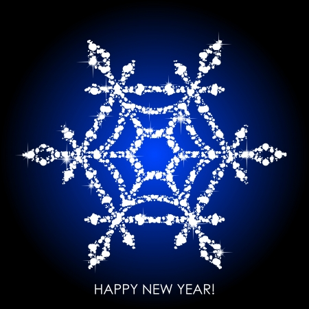 Vector illustration of snowflake from white sequins Vector