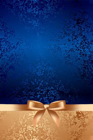 fiocco oro: Vector blu texture di sfondo con fiocco oro