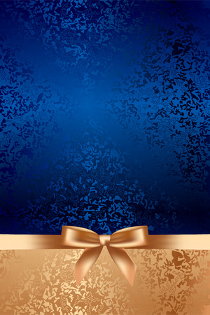 blue ribbon: Vector blue textured background with gold bow Illustration