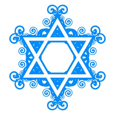 etoile juive: Vecteur �toile de David avec des d�corations florales