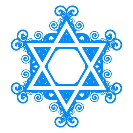 stelle blu: Vector stella di Davide con decorazioni floreali