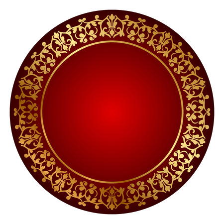 Vector red frame with gold ornament Vector