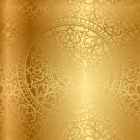 vitrage: Vector gold background with floral decoration