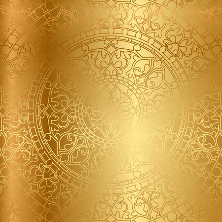 Vector gold Hintergrund mit Blumenschmuck Standard-Bild - 26366819