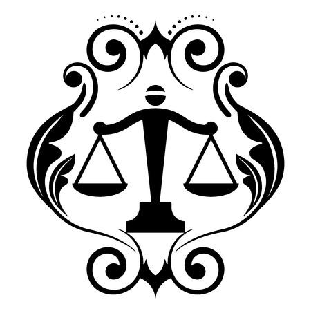simbolo de la mujer: Icono del vector floral con las escalas de justicia