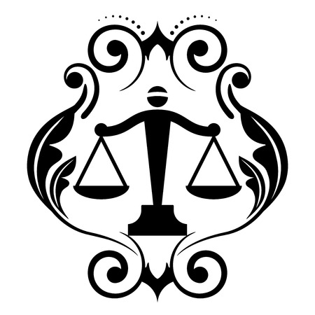 trial balance: Vector floral icon with justice scales