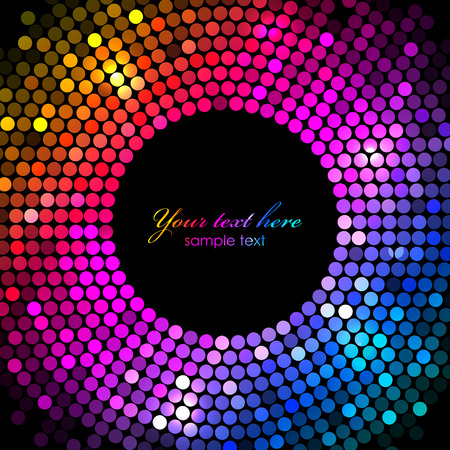 Vector colorful disco lights frame Vector