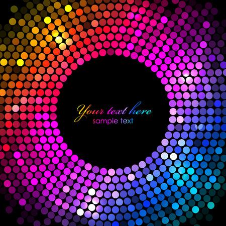 fiestas electronicas: Vector colorido luces de discoteca marco