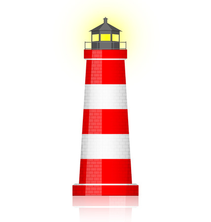 lighthouse beam: Vector illustration of lighthouse
