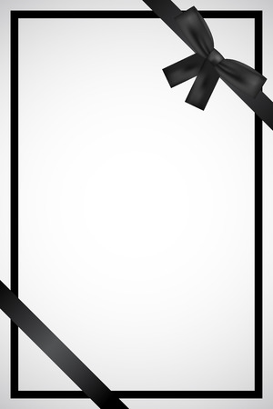 Vector frame with black ribbon Çizim
