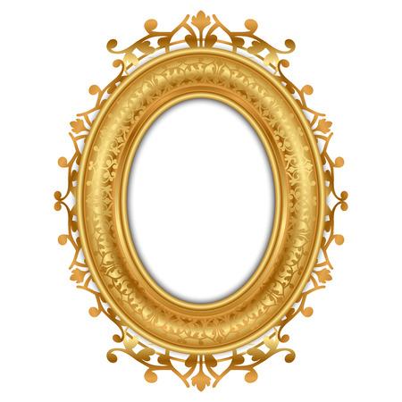 ovalo: Ilustración vectorial de marco de oro de época Vectores