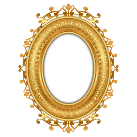 vintage photo frame: Vector illustration of gold vintage frame