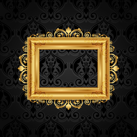 Vector vintage frame on black wall Vector