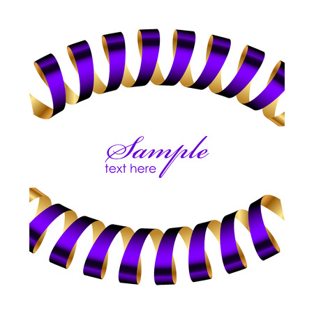 Vector purple and gold ribbon frame Vector