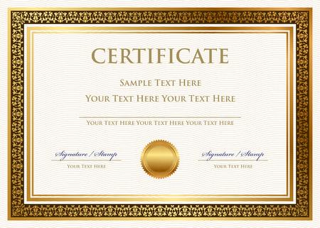 contratos: Certificado del vector de logro con sello de cera